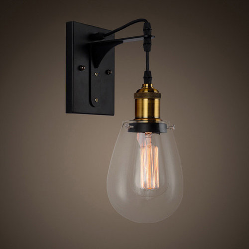Teardrop Shaped Clear Glass Indoor Wall Lamp With Black Back Plate   Wall  Sconces