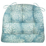 Barnett Home Decor - Ariel Ocean Blue Fan Coral Dining Chair Pad, Latex Foam Fill, Extra-Large - Ariel Ocean Blue Blue chair pad is made in a sea fan coral pattern against a serene shade of marine blue, perfect for your beach house or any room with a coastal decor!