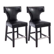 Kings Counter Height Barstool Black With Metal Studs Set Of 2