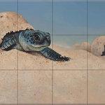 "The Tile Mural Store (USA) - Ceramic Tile Mural, Sea Turtle Crawl, GD, by Garrett DeChellis - *2 Tile Mural on 6"" ceramic satin finish tiles.  AMERICAN MADE !!"