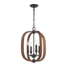 Wood Arches 4 Light Chandelier, Oil Rubbed Bronze