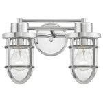 Design Classics Lighting - Seeded Glass Bathroom Light Chrome Cage 2 Lt - Seeded Glass Bath Light Chrome Cage 2 Lt