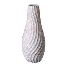 "Villacera Handmade 15"" Tall White Tear Drop Mango Wood Vase"