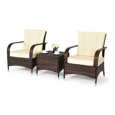 Costway 3PCS Outdoor Patio Mix Brown Rattan Wicker Furni Set Cushioned Beige