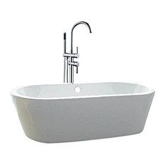 fiberglass free standing tub. Juno Showers  Acrylic Freestanding Bathtub With Standing Faucet White and Chrome 71 Fiberglass Bathtubs Houzz