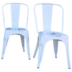 The Chair Guru - Industrial Metal Stackable Kitchen Dining Chair, Distressed White, Set of 2 - This set of two industrial style chairs with a distressed white finish is perfect for indoor or outdoor use. These modern chairs will compliment your restaurant, bar, bistro or kitchen.