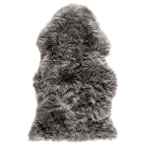 New Zealand Sheepskin Pelt Rug, 60x120 cm, Grey
