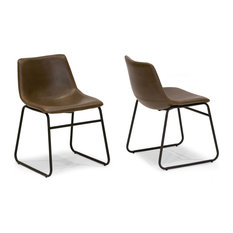 glamour home adan iron frame dark brown pu leather dining chairs set of 2
