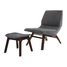 Modrest Whitney Modern Gray and Walnut Accent Chair and Ottoman