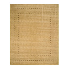 EORC Handmade Wool Beige Traditional Solid Lori Baft Rug, Rectangular 3'x5'