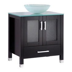 "Jessica 30"" Espresso Modern Bathroom Vanity With Glass Sink Bowl"
