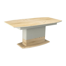 Oak and White Extendable Dining Table, Small