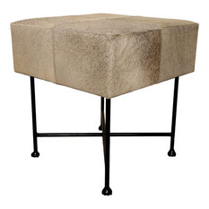 Renwil Malkara Faux Leather Foot Stool in Rustic Gray and Black