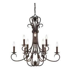 Homestead 9-Light Candelabra Chandelier, Rubbed Bronze