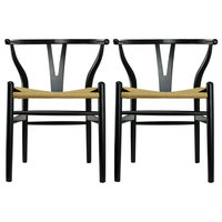 Modern Dining Chairs Wood Armchairs, Set of 2, Black