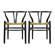 Modern Dining Chairs Wood Armchairs Set Of 2 Black