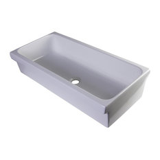 "36"" White Above Mount Fireclay Bath Trough Sink"