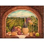 "The Tile Mural Store (USA) - Tile Mural, Tuscan Wine Ii by Rita Broughton - *20 Tile Mural on 6"" ceramic satin finish tiles.  AMERICAN MADE !!"