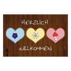 """""""Herlich Wilkommen"""" Heart Gallery Door Mat, Large"""