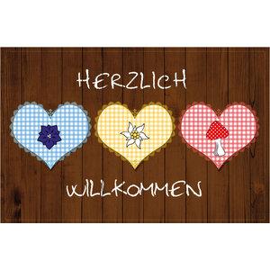 """""""Herlich Wilkommen"""" Heart Gallery Door Mat, Small"""