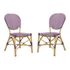 Lisbeth Side Chair/Stackable, Set of 2, Purple, White