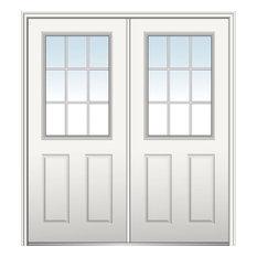 """Internal Grilles Fiberglass Double Door, 74""""x81.75"""", Hand In-Swing: Left"""