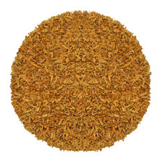 Gold Pelle Leather Shag Rug, 8' Round