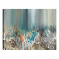 """ArtMaison Canada - """"Dark Pond Reflections Abstract Canvas Wall Art by Sanjay Patel, 48""""x24"""" - Prints and Posters"""