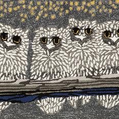 "Transocean - Owls Doormat, Gray, 24""x36"" - Doormats"