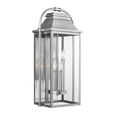 Feiss 4-Light Outdoor Lantern, Brushed Steel