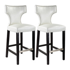 Kings Bar Height Barstool White With Metal Studs Set Of 2