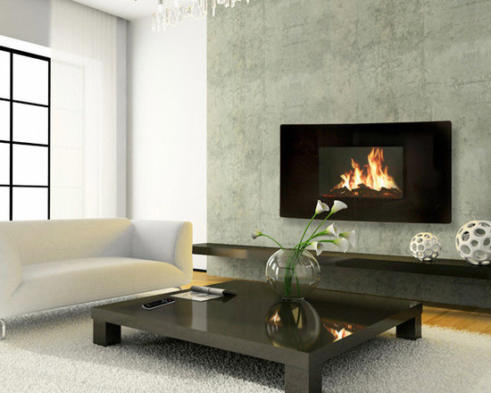celsi celsi 43inch panoramic black wall hanging modern electric fireplace gl2029usp - Modern Electric Fireplace