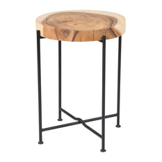 East At Main's Rico Brown Round Teakwood Accent Table 14x19