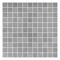 "12""x12"" Fossil Porcelain Mosaic Tile, Light Gray"