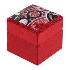 Novica Crimson Saga Beaded Jewelry Box