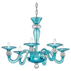 Ermione Murano Glass Chandelier, Blue