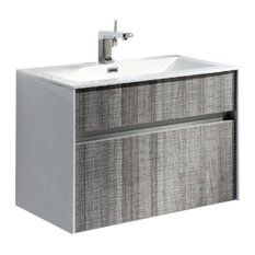 "Ashy 36"" Wall Mount Bathroom Vanity Set Ash Gray With White Integrated Sink"