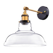 """Vintage-Style Industrial 11"""" Flashlight Glass Wall Sconce, Amber, Clear"""