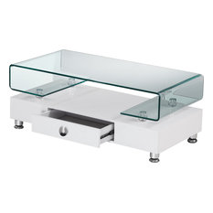 Rectangular Glass Top Coffee Table With Drawer, White, Squared Edge