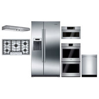 "6 Piece Kitchen Appliances Package with 36"" Side by Side Refrigerator  30"" Elect"