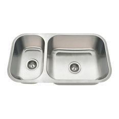 Kitchen Undermount Stainless Steel Sink Offset Double Bowl