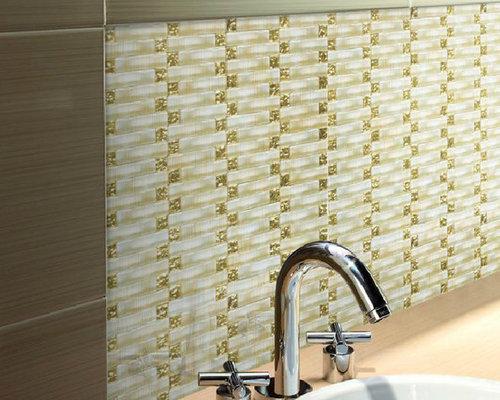 Crystal Gl Backsplash Tile Arch Mirror Gold Light Yellow New