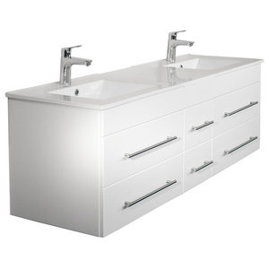 Emotion Roma Bathroom Furniture, 150 cm, White High-Gloss