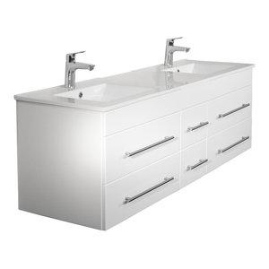 Emotion Roma Bathroom Furniture, 150 cm, White High-Gloss