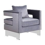 Carson Velvet Accent Chair, Gray