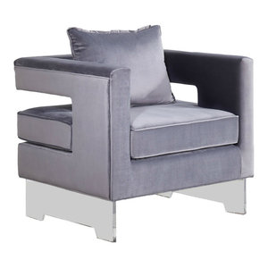 Savings Cardiff Velvet Accent Chair Gray By Mod Florida Living