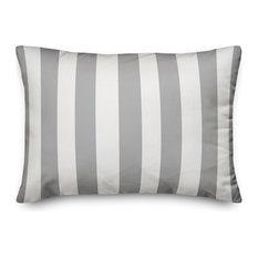 Gray Cabana Stripe 14x20 Lumbar Pillow