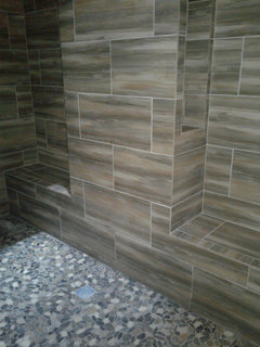 I Used Shaved Pebble Tile In My New Construction We Are Not Done Yet But Love It