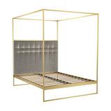 Federico Double Canopy Bed, Mushroom Velvet, Brass Base