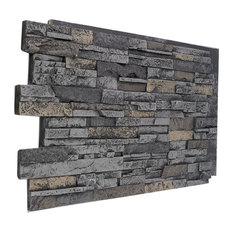 Faux Stacked Stone Wall Panel - Midnight